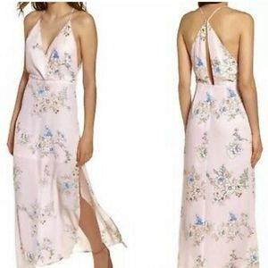 NWT LUSH Pale Pink Surplice High Slit Maxi Dress